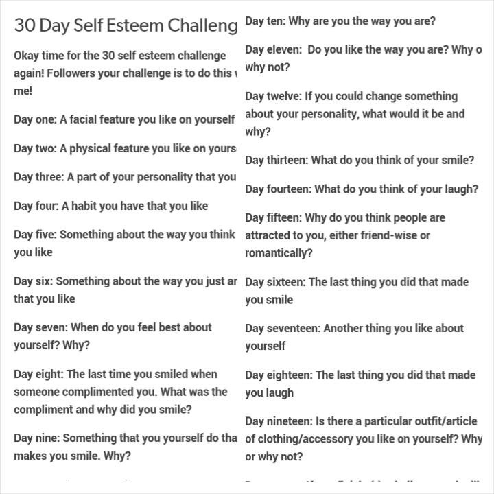 30 Day Blog Challenge Topics 30 Day Self Esteem Challenge 1