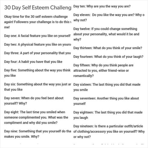 30 Day Self Esteem Challenge 1